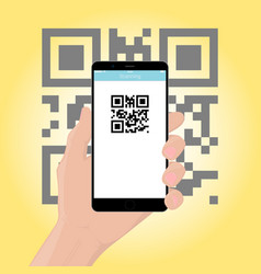 Mobile phone smartphone in hand scans the qr vector