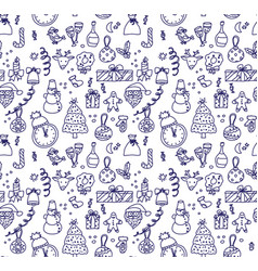 new year christmas objects monochrome ink seamless vector image