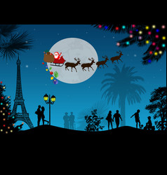people at night in paris with santa claus vector image