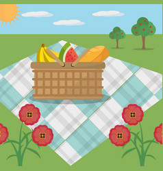 Picnic basket blanket meadow flowers vector