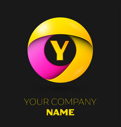 Realistic letter y logo in colorful circle vector