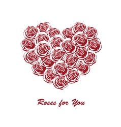 roses in the shape of heart vector image vector image