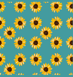 Seamless floral pattern of yellow sunflowers vector