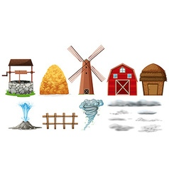 Set of farm elements and weathers vector