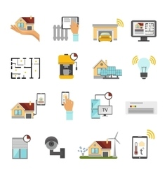 Smart House Flat Icon Set vector image vector image