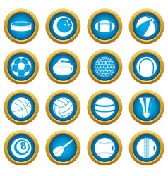 sport balls icons blue circle set vector image vector image
