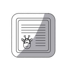 sticker monochrome card with male giraffe head vector image