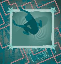 surfing vintage frame vector image vector image