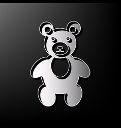 Teddy bear sign gray 3d vector