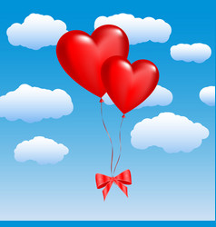 two balloons in the shape of hearts on a sky vector image vector image