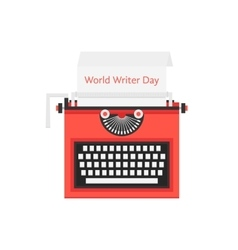 world writer day with red typewriter vector image