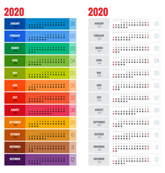 yearly wall calendar planner template for 2020 vector image vector image