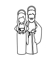 Mary and joseph cartoon of holy night design vector