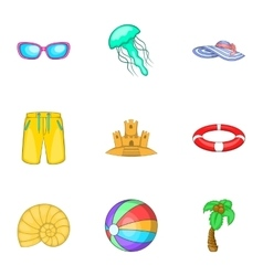 Relax on beach icons set cartoon style vector