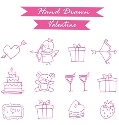 Pink icon valentine day collection vector