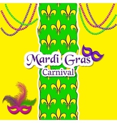 Mardi Gras Carnival card The pattern with fleur vector image