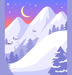 Beauttiful landscape of high snowy white mountains vector