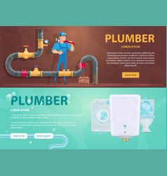 Colorful plumbing horizontal banners vector