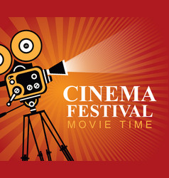Cinema festival poster with old movie camera vector