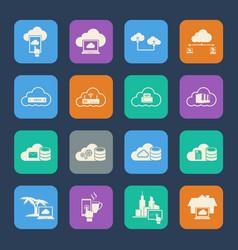 Cloud computing icons set flat design for website vector