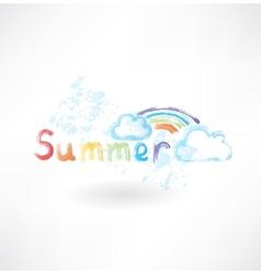 Summer rainbow grunge icon vector image