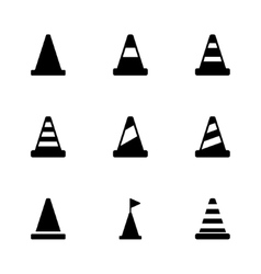 Black traffic cone icon set vector