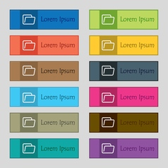 Folder icon sign set of twelve rectangular vector