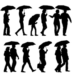 Black silhouettes man and woman under umbrella vector image