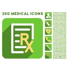 Receipt text icon and medical longshadow icon set vector