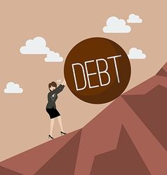 Business woman pushing heavy debt uphill vector