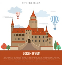 City buildings graphic template Bousov castle vector image