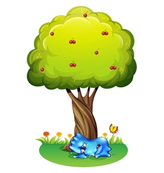 A tired monster under the tree vector image