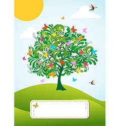 Abstract spring time tree greeting card vector image vector image