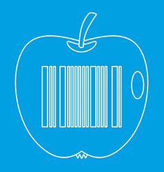 Apple with barcode icon outline style vector