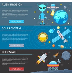 Colorful Space And Astronomy Flat Banners Set vector image vector image