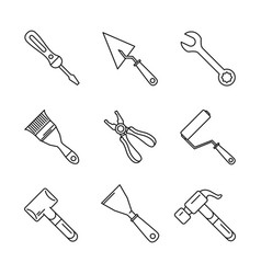 constructions tools icon set vector image vector image