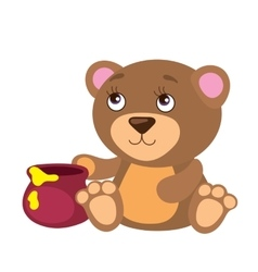Cute bear with honey pot vector