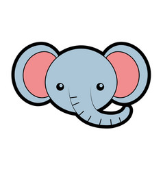 Cute elephant face cartoon vector