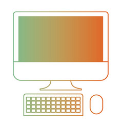 Desktop computer icon in degraded green to red vector