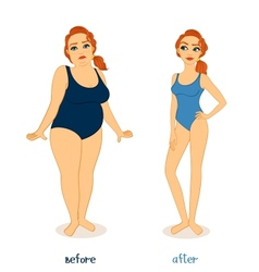 Fat and slim woman figures vector