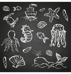 Fish and sea life hand drawn doodle icons set on vector