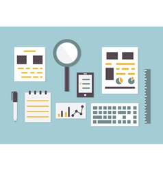 Flat design of objects and equipment analytics vector image vector image