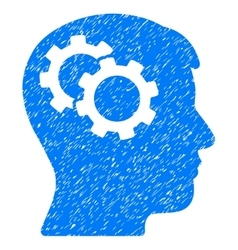 Intellect gears grainy texture icon vector