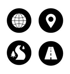 Map navigation black icons set vector