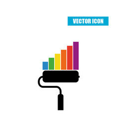 Paint roller statistic chart icon isolated on vector
