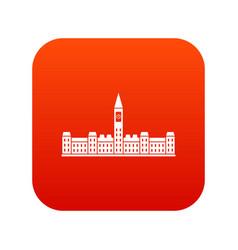 Parliament building of canada icon digital red vector