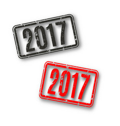 rectangular stamp 2017 vector image vector image