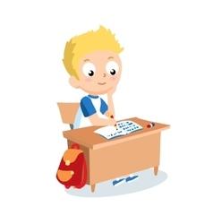 Schoolboy sitting at school desk pupil vector