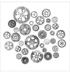 Scribbled cogwheels and gears vector