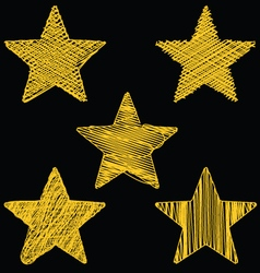 Set of hand drawn scribble gold stars icon set 2 vector